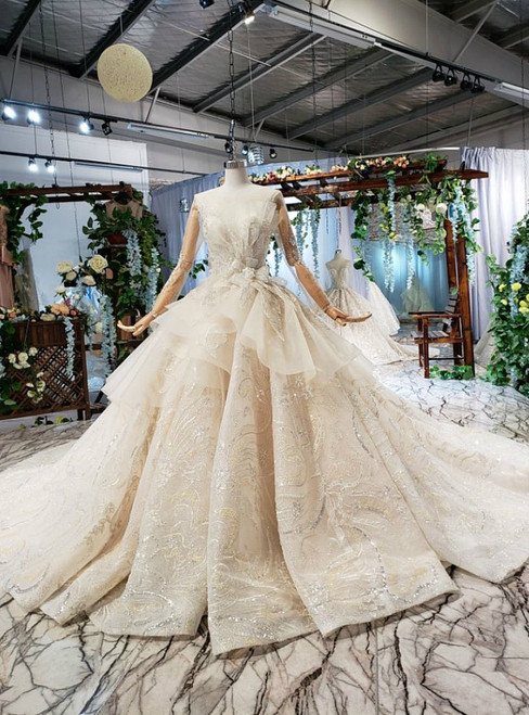 Champagne Tulle Sequins Long Sleeve Backless Luxury Wedding Dress