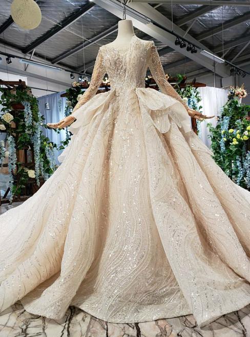 Ball Gown Bateau Long Sleeve Backless Sequins Luxury Wedding Dress