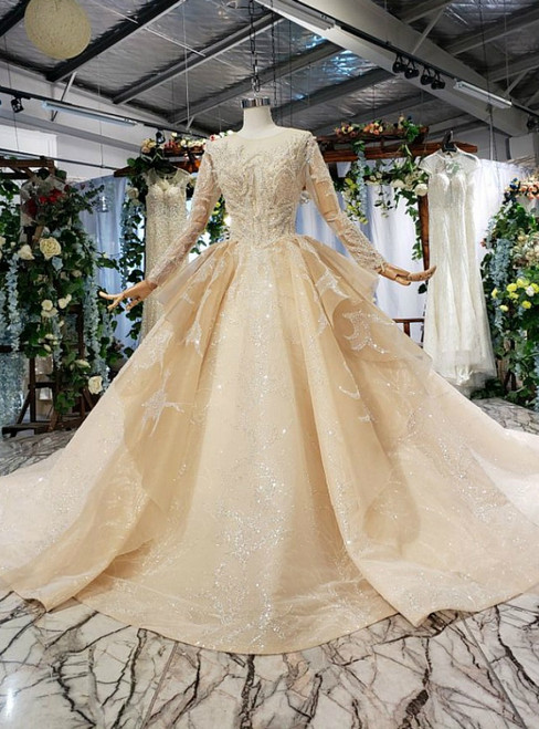 Dark Champagne Tulle Sequins Long Sleeve Backless Luxury Wedding Dress With Beading