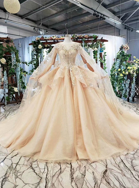 Champagne Tulle Appliques Backless Beading Luxury Wedding Dress With Shawl