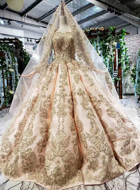 Champagne Pink Satin Gold Appliques Long Sleeve Beading Wedding Dress