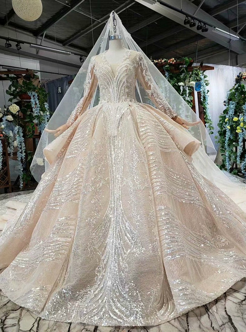 Champagne Tulle Sequins Long Sleeve V-neck Beading Luxury Wedding Dress