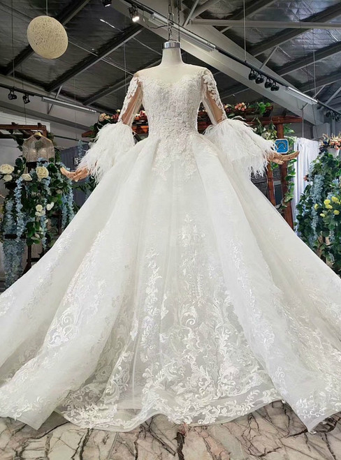 White Ball Gown Tulle Lace Appliques Backless Luxury Wedding Dress With Feather Sleeve