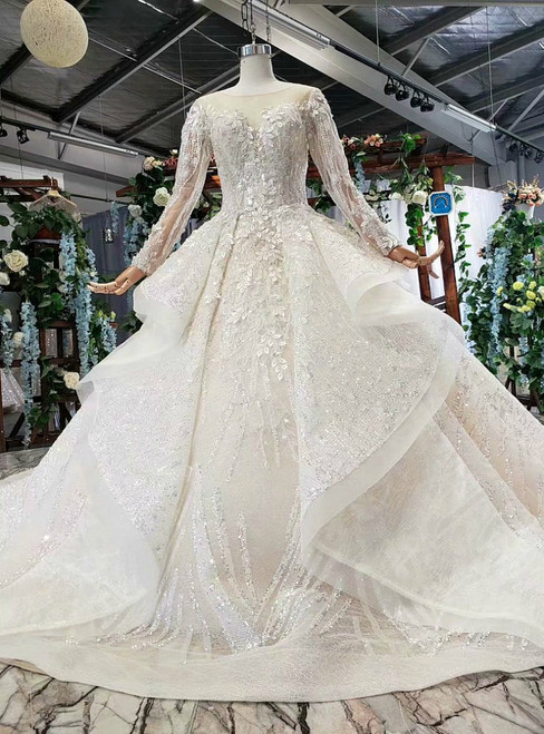 Champagne Ball Gown Tulle Sequins Appliques Long Sleeve Open Back Luxury Wedding Dress