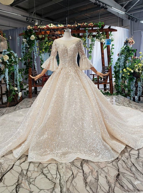 Bling Bling Sequins Long Sleeve Appliques Luxury Champagne Wedding Dress