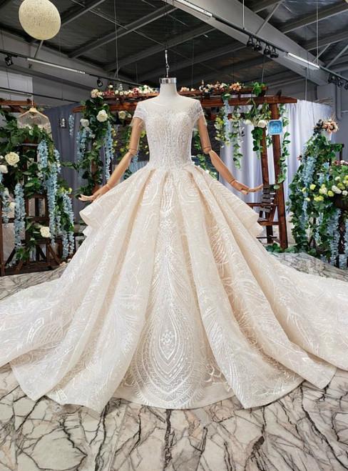 Champagne Tulle Lace Cap Sleeve Backless Beading Luxury Wedding Dress
