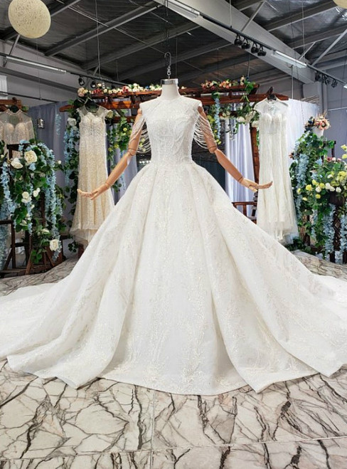 Ivory White Tulle Appliques Sequins Beading Luxury Wedding Dress With Long Train