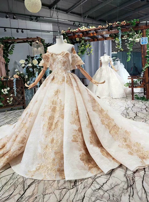 Champagne Tulle Lace Off the Shoulder Appliques Luxury Wedding Dress