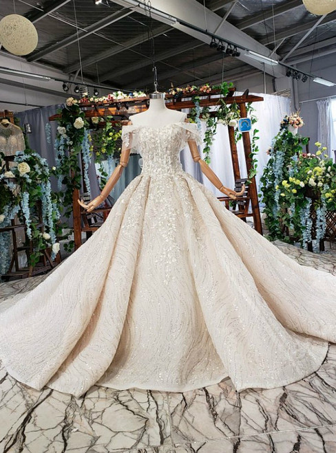 Champagne Tulle Sequisn Off the Shoulder Appliques Luxury Wedding Dress With Beading