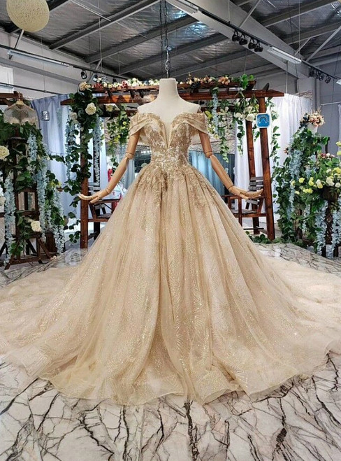 Champagne Gold Tulle Sequins Appliques Off the Shoulder Wedding Dress