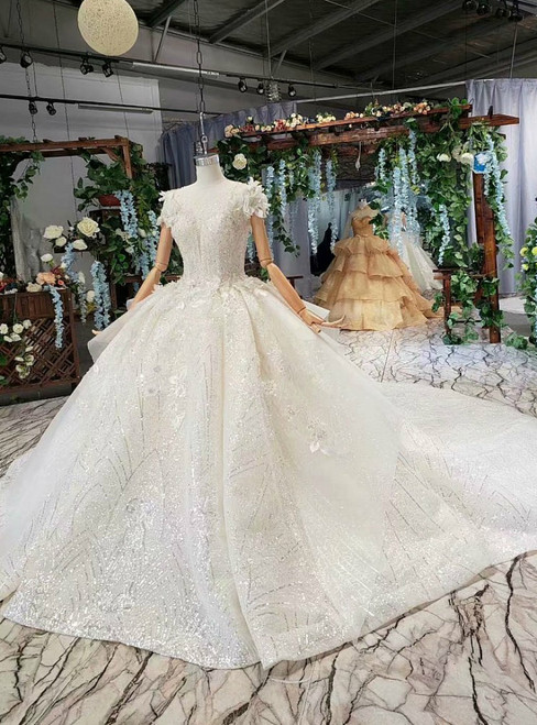 Light Champagne Ball Gown Sequins Beading Appliques Haute Couture Wedding Dress