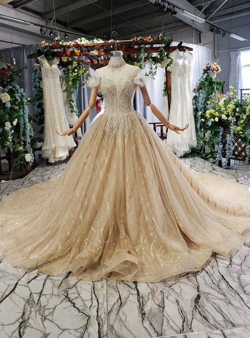 Gold Tulle Sequins High Neck Backless Wedding Dress With Beading
