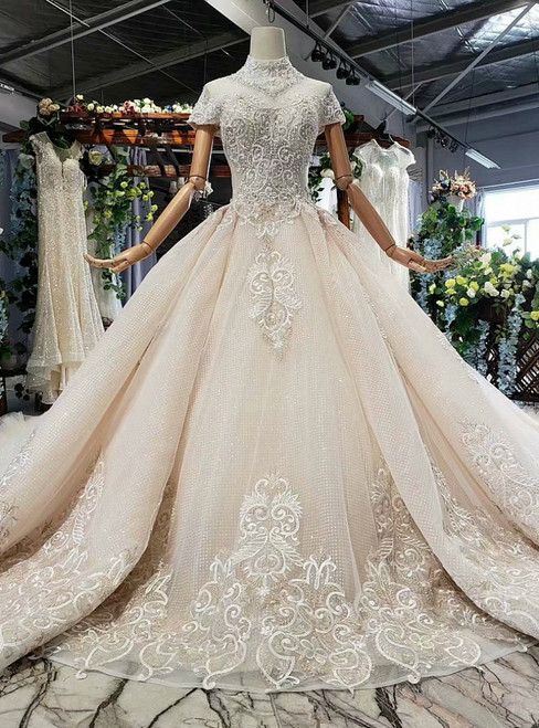 Adorable Champagne Tulle Sequins High Neck Cap Sleeve Luxury WeddingDress