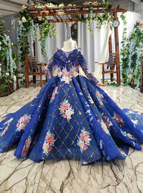 Royal Blue Tulle Sequins Appliques Long Sleeve Flower Girl Dress With Train