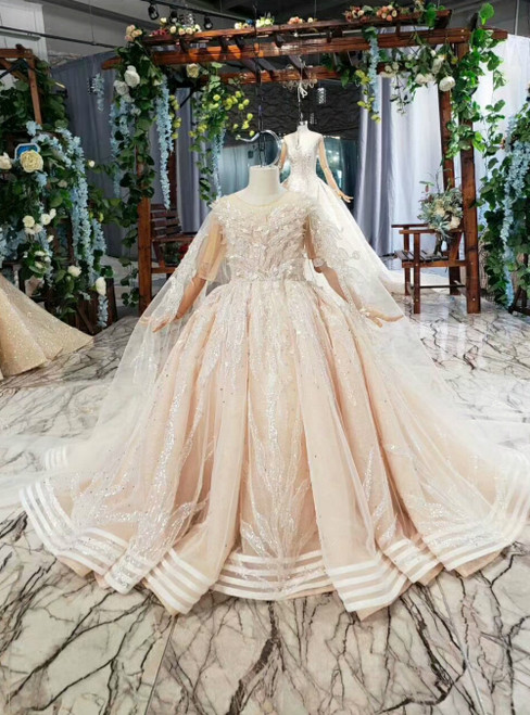 Champagne Tulle Sequins Backless Flwoer Girl Dress With Shawl