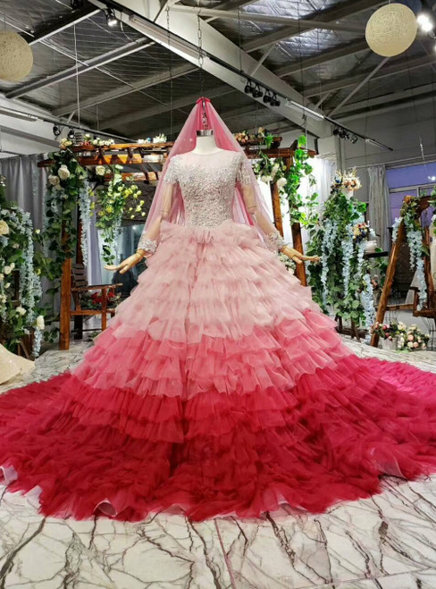 Red And Pink Tulle Tiers Cap Sleeve Beading Luxury Princess Wedding Dress With Veil