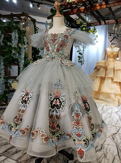 Gray Tulle Embroidery Coloful Beading Crystal Luxury Flower Girl Dress