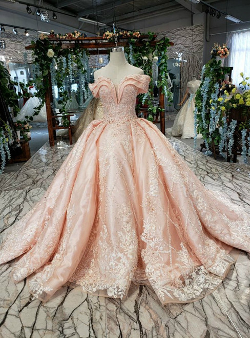 Pink Satin Tulle Off the Shoulder Hand Appliques Beading Luxury Wedding Dress