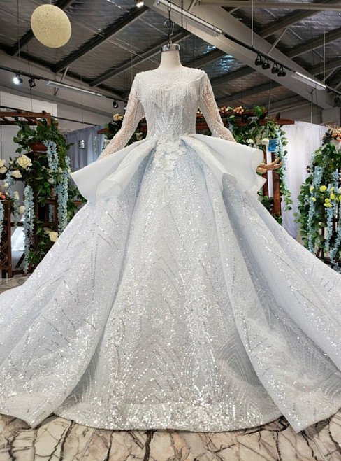 Light Blue Tulle Sequins Long Sleeve Backless Appliques Luxury Wedding Dress