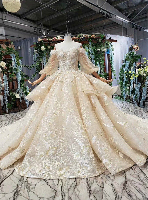 Champagne Tulle Lace Applqieus Off the Shoulder Puff Sleeve Luxury Wedding Dress
