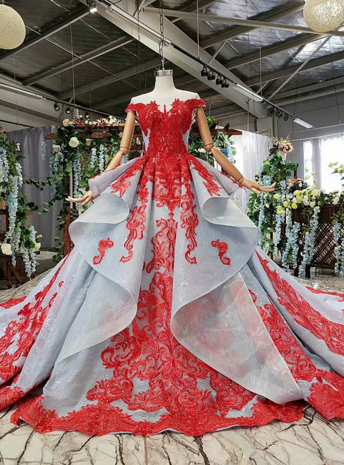 Gray Blue Tulle Red Lace Appliques Cap Sleeve Beading Luxury Wedding Dress