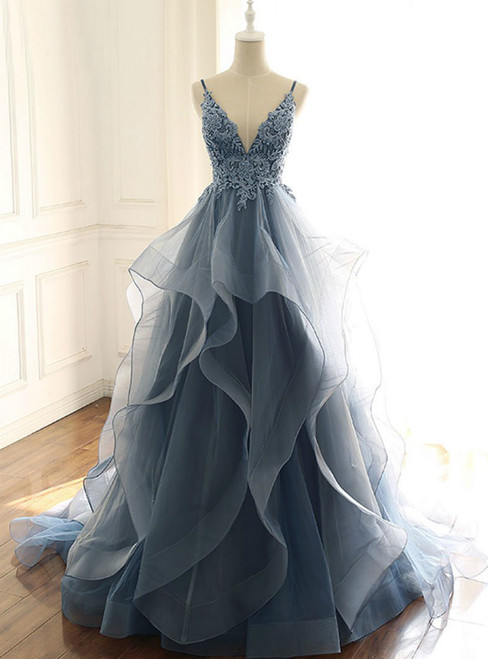 Blue V-neck Lace Appliques Tulle Spaghetti Straps Prom Dress