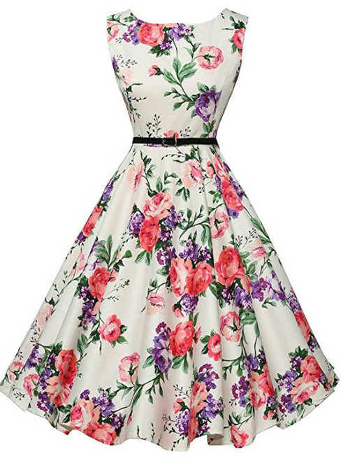 Cheap White Print Scoop Neck Sleeveless Vintage Dress