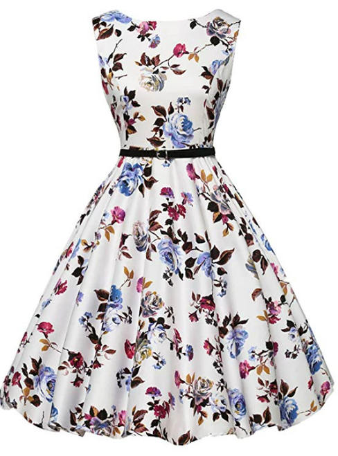 Women White Print Short Vintage Dress With Sash