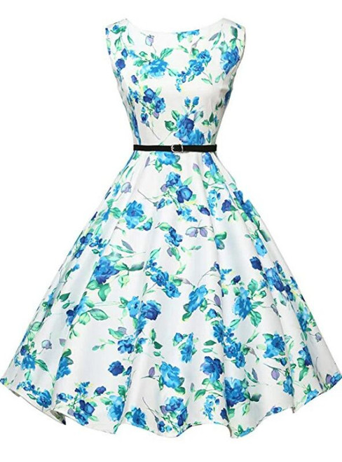 Cheap White Dress Blue Print Vintage Dress With Sash