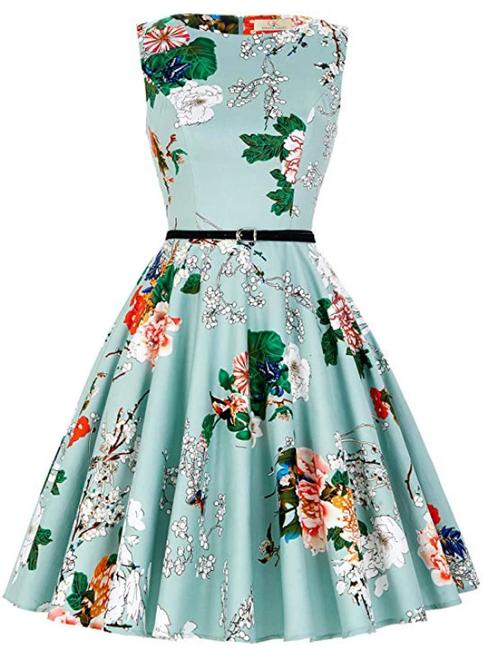 Women Green Dress Print Vintage 1950S Short Dress