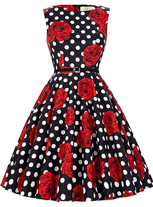 Fashion Black Wave Point Red Flower Tea Length Dress