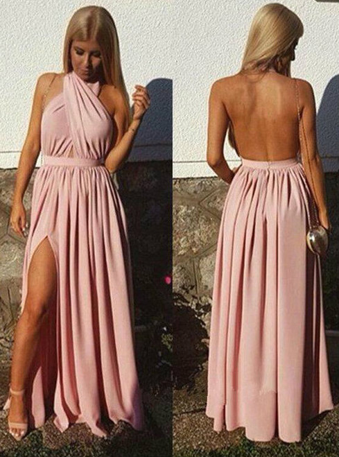 New Halter Pink Sexy Backless Prom Dress Backless Prom Dress Cheap Prom Dress