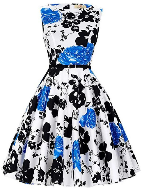 Fashion Women White Dress Blue And Black Flower Dress