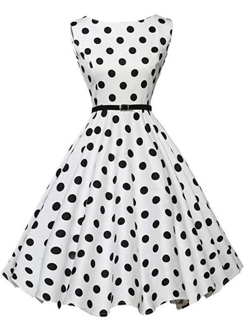 Women White Sleeveless Polka Dot Vintage Dress