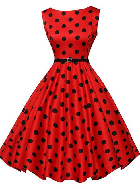 Women Red Sleeveless Polka Dot Vintage Dress