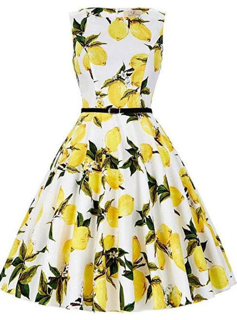Women Cheap Pear Blossom Sleeveless Short Vintage Dress