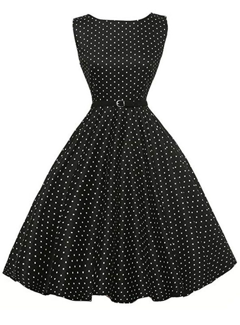 Women Black Polka Dot Short Vintage Dress
