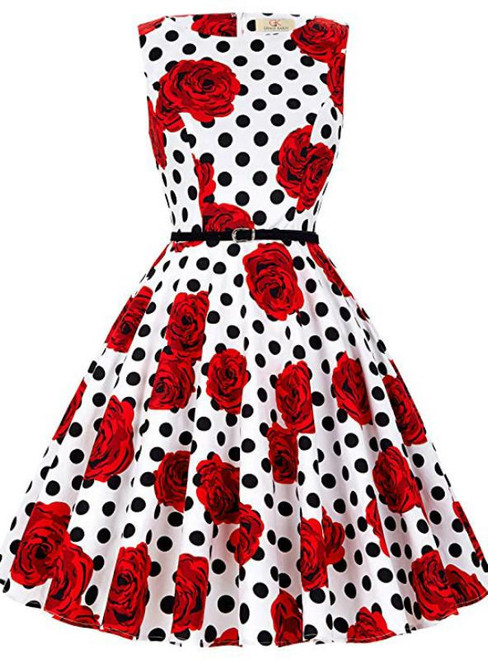 Women Polka Dot Red Flower Vintage Dress