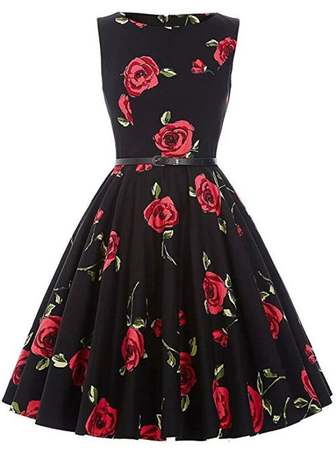 Women Black Rose Flower Short Vintage Dress With Sash