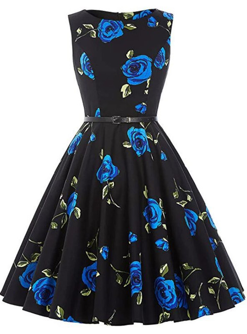 Women Blue Rose Flower Short Vintage Dress With Sash