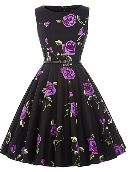 Women Purple Rose Flower Short Vintage Dress With Sash