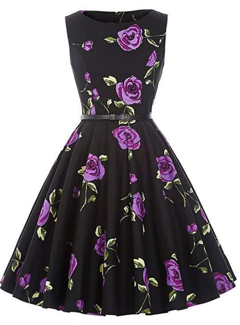 Women Purple Rose Flower Short Vintage Dress With Sash