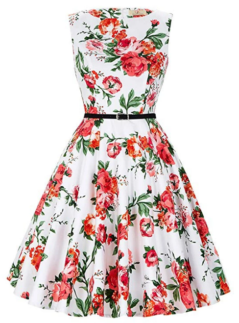 Fashion White Short Print Dress Vintage Dress Sash