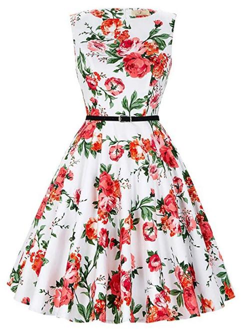 Fashion White Short Print Dress Vintage Dress Sash