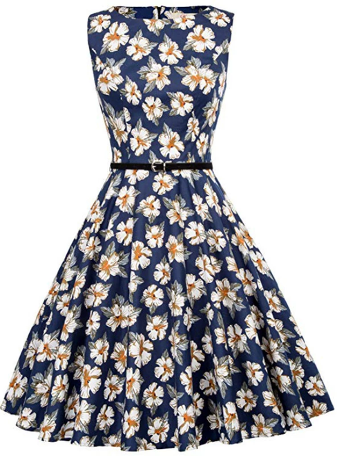 Women'S Blue Vintage Dress With Print Dress