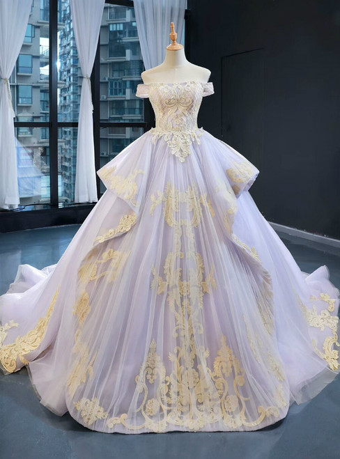 Light Purple Ball Gown Tulle Appliques Off the Shoulder Haute Couture Prom Dress