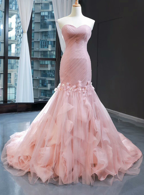 Pink Mermaid Tulle Sweetheart Pleats Appliques Prom Dress
