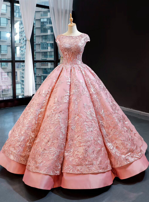 Pink Ball Gown Satin Embroidery Appliques Sequins Cap Sleeve Backless Prom Dress