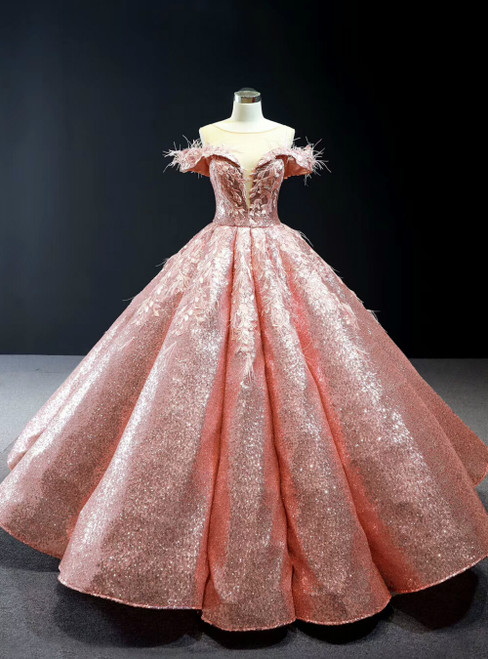 Pink Ball Gown Sequins Appliques See Through V-neck Quinceanera Dress