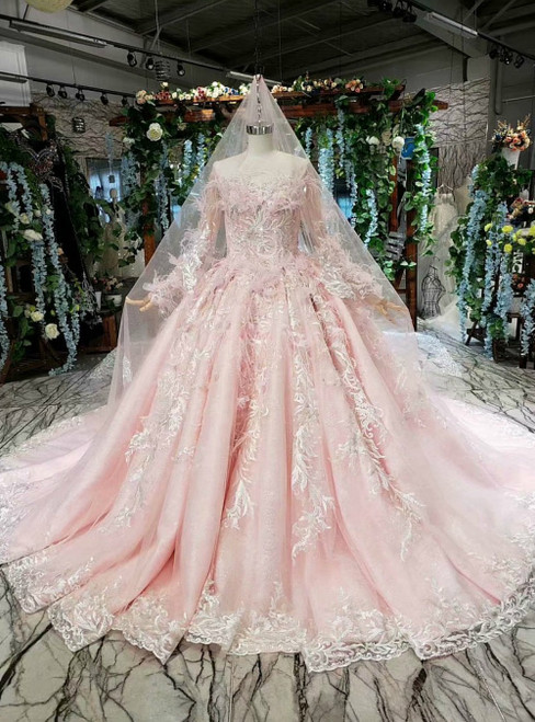 Pink Ball Gown Tulle Appliques Long Sleeve Luxury Wedding Dress With Feather